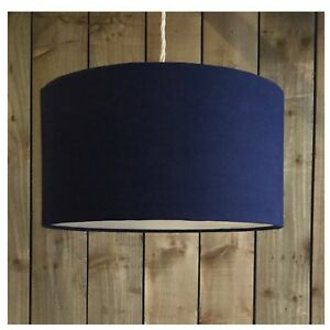 Image Is Loading Navy Blue Linen Fabric Drum Light Shade Amp