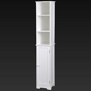 White Bathroom Tall Wooden Cabinet Shelving Unit Cupboard ...