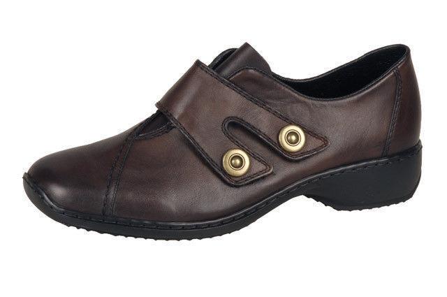 Damas Rieker L3868 Suave Cuero Marrón Zapatos con cierre cierre cierre de doble suela Antiestrés táctil  nuevo sádico