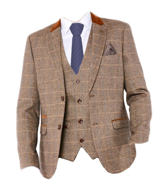 Mens Marc Darcy Tweed 3//2 Piece Blazer Waistcoat Trousers Slim Fit Vintage