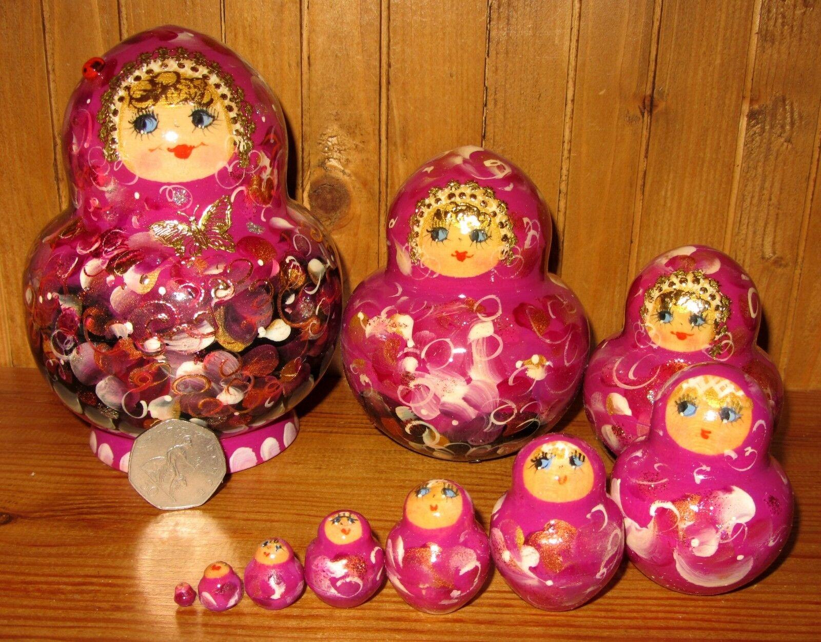 Matriosca russa Bambola 10 rosa lilla nero bamboline tradizionali FIRMATO