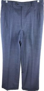 Burberrys-Dress-Pants-Men-Size-30-x-28-Pleated-Blue