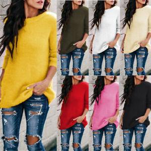Women-Fluffy-Sweater-Jumper-Long-Sleeve-Ladies-Sweatshirt-Pullover-Blouse-Top-CZ