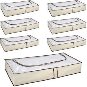 1-6-Stueck-Unterbett-Kommode-Aufbewahrung-Unterbettkommode-Box-m-Reissverschluss