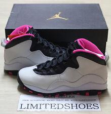 Girls Nike Air Jordan X 10 Retro GS GG Pure Platinum Vivid Pink Black 487211 008