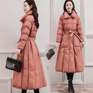 Elegant-Daunejacke-Damenmode-Warm-Winter-Lange-Baumwollen-Mantel-Slim-Coat-Mode