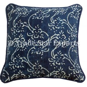 Indian Block Print Canvas Pillow Case 16X16 Handmade Vintage 2 Pcs Cushion Cover