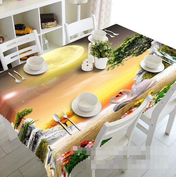 3D Lake Swans 25 Tablecloth Table Cover Cloth Birthday Party Event AJ WALLPAPER