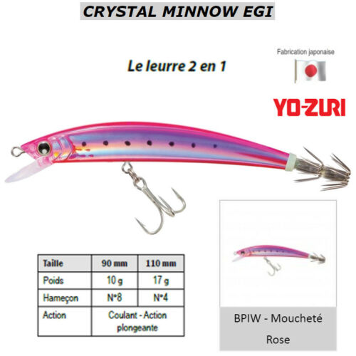 Turluttes YO-ZURI CRYSTAL MINNOW EGI Hybride Moucheté Rose POISSONS CALAMARS