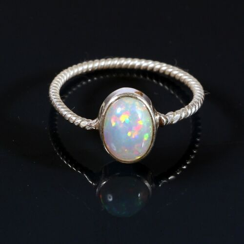 925 Sterling Silver Natural Ethiopian Welo Fire Opal Exclusive Wedding Ring #280