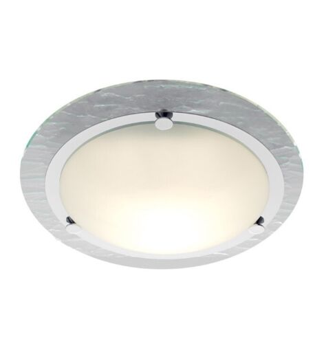 1 of 1 - NEW Searchlight 2411CC IP44 Chrome Flush Bathroom Fitting With Glass Backplate