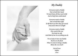 Detalles De A4 Poema Personalizado Para Papá Papá Padres Día Cumpleaños Regalo De Navidad Ver Título Original