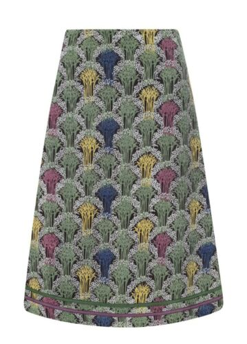 Mistral 8-18 Deco Forest Alice Cord Cotton Grey Green Tree Floral Print Skirt