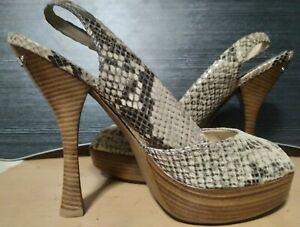 EUC w/box MICHAEL KORS womens Belinda sling platform leather heels in python sz9