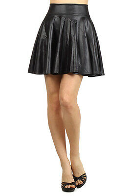 Women's High Waist Wetlook Pleated Skater Skirt Mini Party Dress
