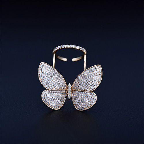 Femme Papillon Anneau Clair Zircone cubique Ouvert Luxe Moving unique Active Cadeau