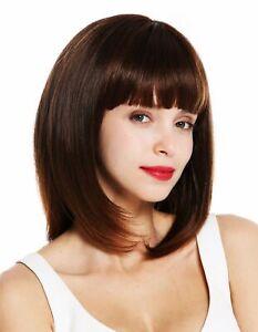 Details About Wig Me Up Ladies Wig Shoulder Length Smooth Long Bob Fringe Chestnut Braun