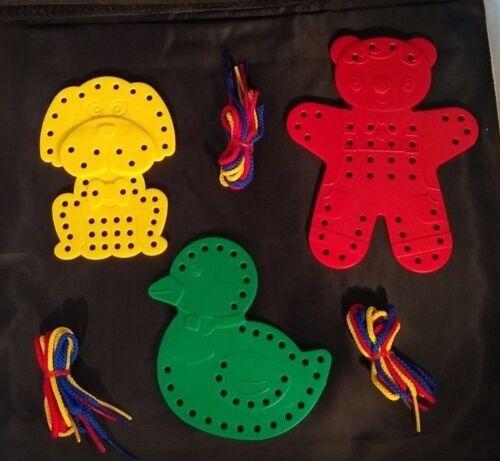 ours, chien, canard éducatif Lacets en plastique animal formes pack de 3