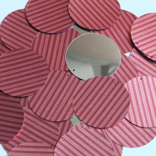 "Round Sequin 1.5"" Red Pink Corrugated Stripe Metallic"