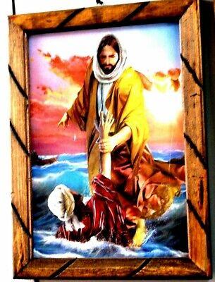 "Art Frame Painting//print Jesus Christ The Savior En ti Confio Mexico 36/""X24/""Huge"