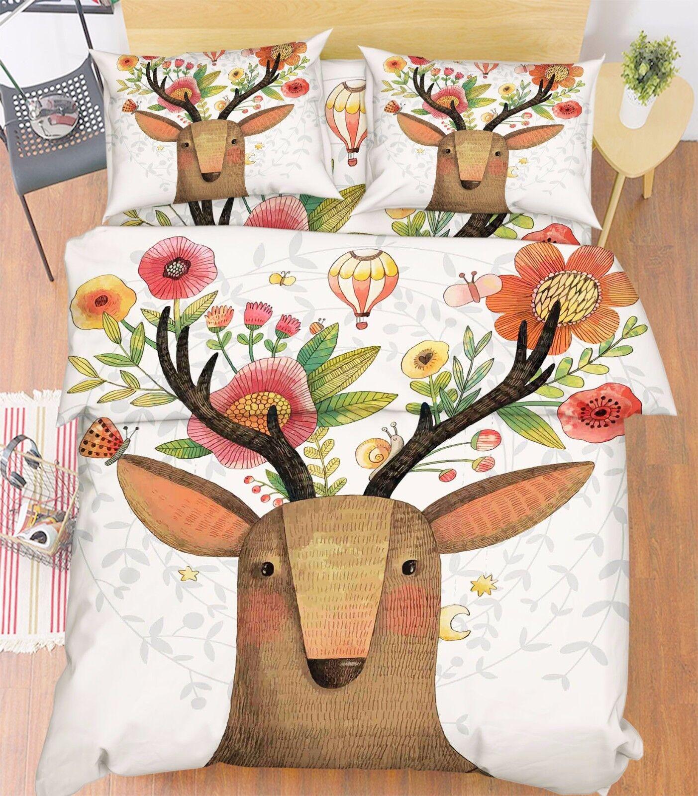 3D Deer Flowers 876 Bed Pillowcases Quilt Duvet Cover Set Single Queen UK Kyra