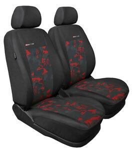 Mercedes-200-2x-Front-Velour-Sitzbezuege-Schonbezuege-Sitzbezug-Auto-Rot