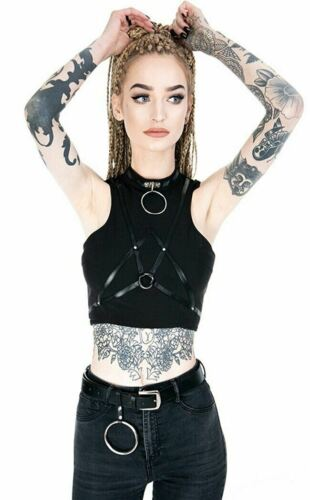 Restyle Gothic Goth Punk Villain Crop Black Tank Top Faux Leather Straps O-Rings