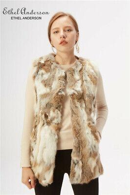 100/% Real Genuine Knitted Rabbit Fur Vest Gilet Waistcoat Coat Vintage Jacket