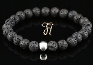 Lava-925er-sterling-Silber-Armband-Bracelet-Perlenarmband-schwarz-8mm