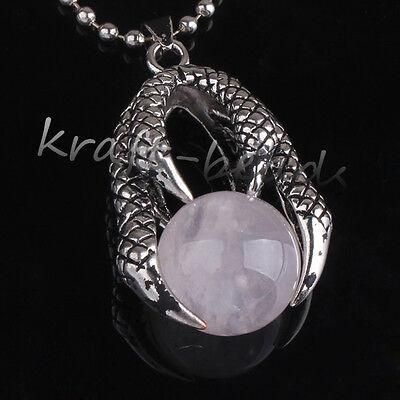 1x Archaistic Silver Plated Gemstone Dragon Claw Pendant Jewelry Amethyst Quartz