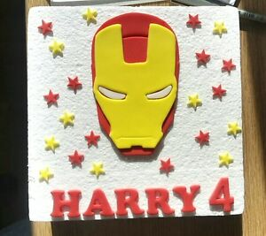 Image Is Loading Edible Sugarpaste Iron Man Ironman Personalised Birthday Cake