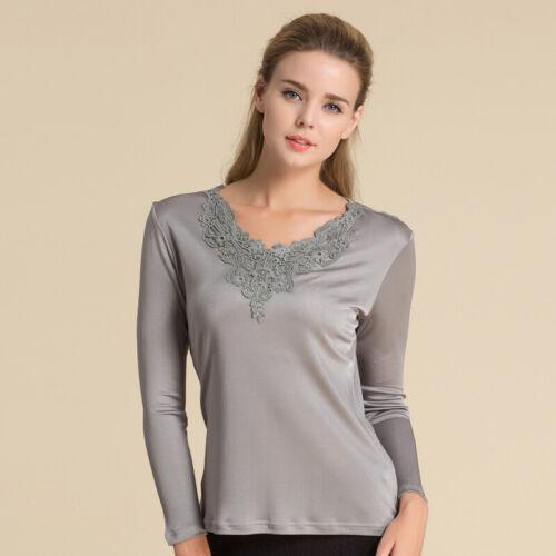 100/% Silk Knit Women Lace V Neck Long Sleeve Vest Top Blouse