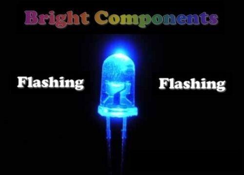 6000mcd 1st Class Post - UK 5 X Blu Lampeggiante LED 5mm-Ultra luminosa
