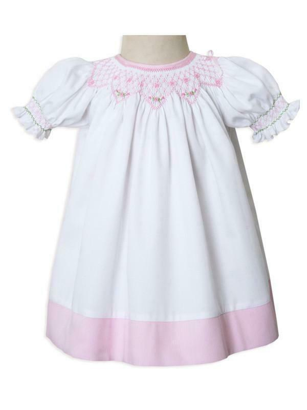 New Born Baby Girls White and Pink Smocked Portrait Bisho Dress