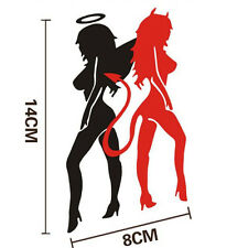 Black&Red Angel Devil Beauty Car Stickers 14cm*8cm Super Cool Car Decal  CASL
