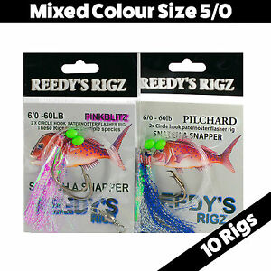 10-Snapper-Rig-Mixed-Flasher-Lure-Size-5-0-Hook-Fishing-Rigged-Paternoster-Jig