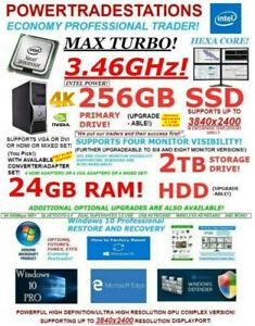DELL TRADING COMPUTER 4MONITOR HexaCORE 3.46MaxTURBO! 256SSD&2TBHDD 24GBRAM W10P