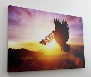 Friedenstaube Palmzweig Sonnenuntergang Leinwand Bild Wandbild Kunstdruck L0671
