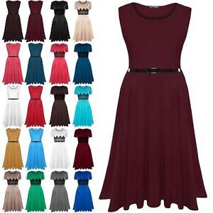 b680ec881727 Image is loading New-Womens-Plain-Belted-Sleeveless-Flared-Franki-Ladies-