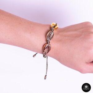 Kavak - Handmade Gold Plated Shells (Grey Color) Adjustable Women's Bracelet