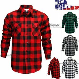 Mens Brawny Buffalo Plaid Flannel Shirt Long Sleeves
