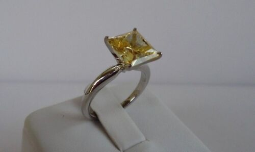 14K WHITE GOLD SOLITAIRE WEDDING RING W// 3CT PRINCESS YELLOW DIAMOND //SZ 5TO10