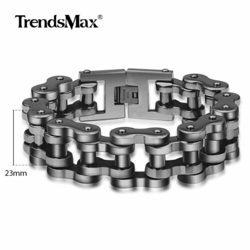 23mm 11inch Mens Biker Motorcycle Chain 316L Stainless Steel Bracelet Black Tone