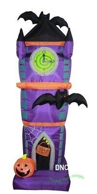 7.5 FT Halloween Airblown Inflatable Spooky Clock Bats Haunted House Yard Deco