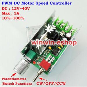 DC 12V 18V 24V 36V 40V 5A PWM DC Motor Speed Controller CW CCW Reversible Switch