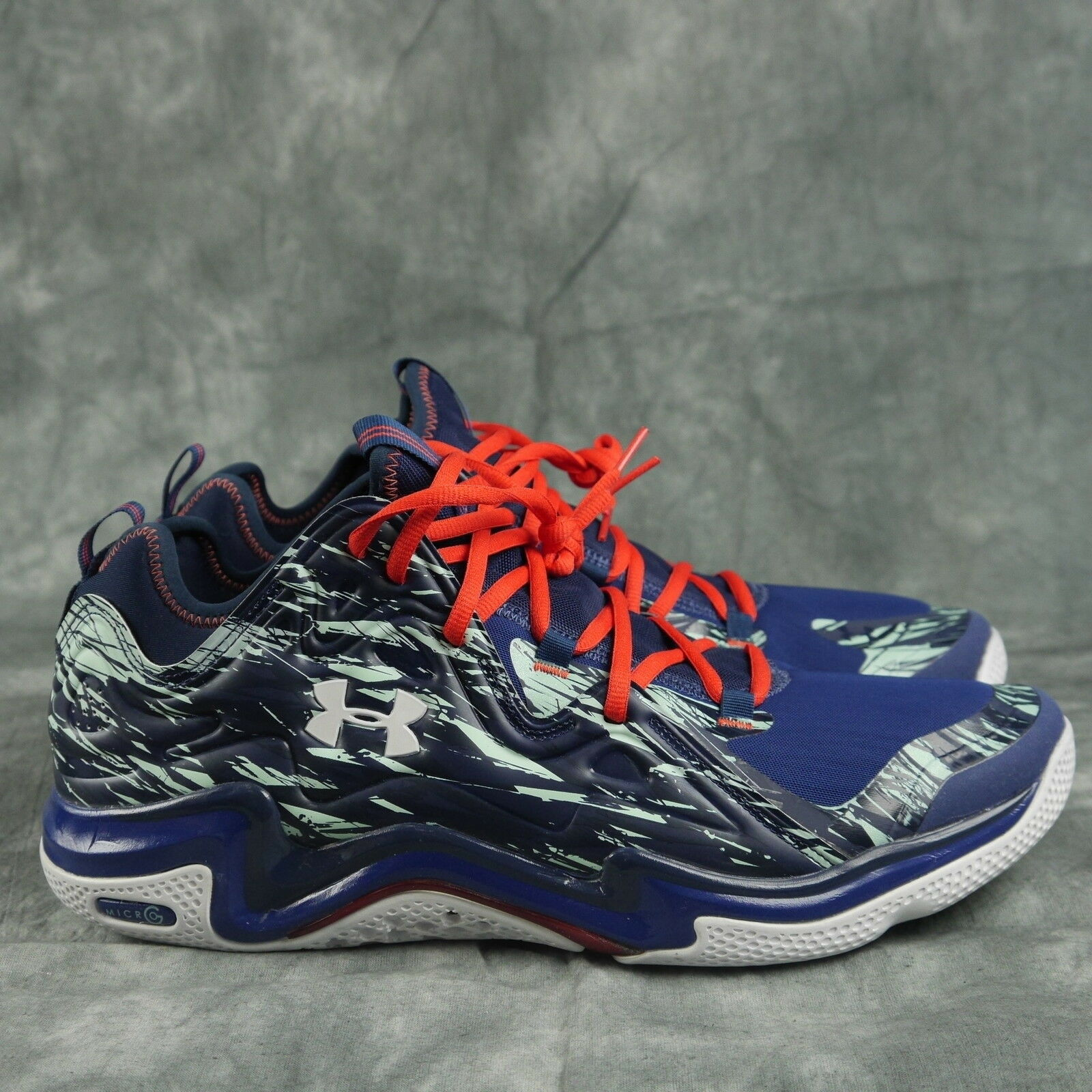 Under Armour 1248416 404 TB Micro G Charge Volt Low Basketball Shoes Uomo 14 ANB