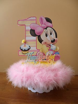 Enjoyable Baby Minnie Mouse Cake Topper 1St First One Birthday Party Funny Birthday Cards Online Inifodamsfinfo
