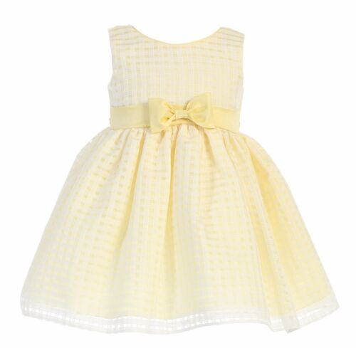New Flower Girls Organza Yellow Dress Toddler Kids Easter Wedding Party M732