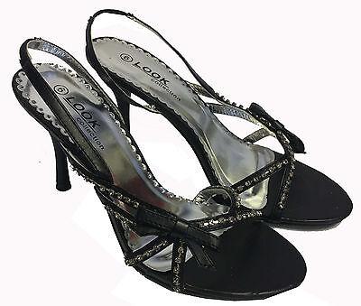 Para mujer Negro Diamante Tacón Zapatos Sandalias ESLINGA vuelta Punta Abierta Con Correas 5,6