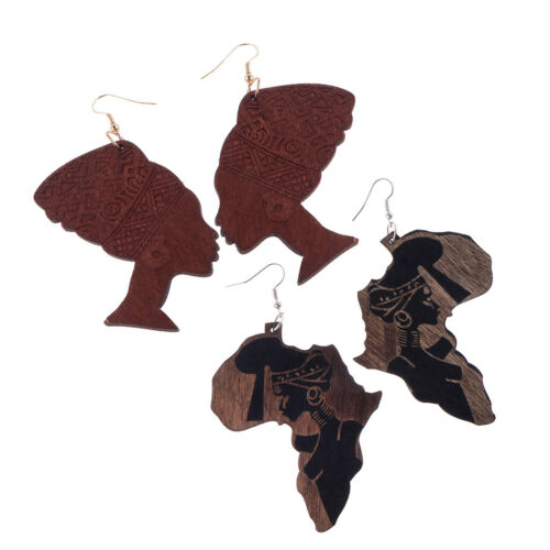 2 Paires African Map afrocentric Afrique bois costume Boucles d/'Oreilles Ethnique Bijoux